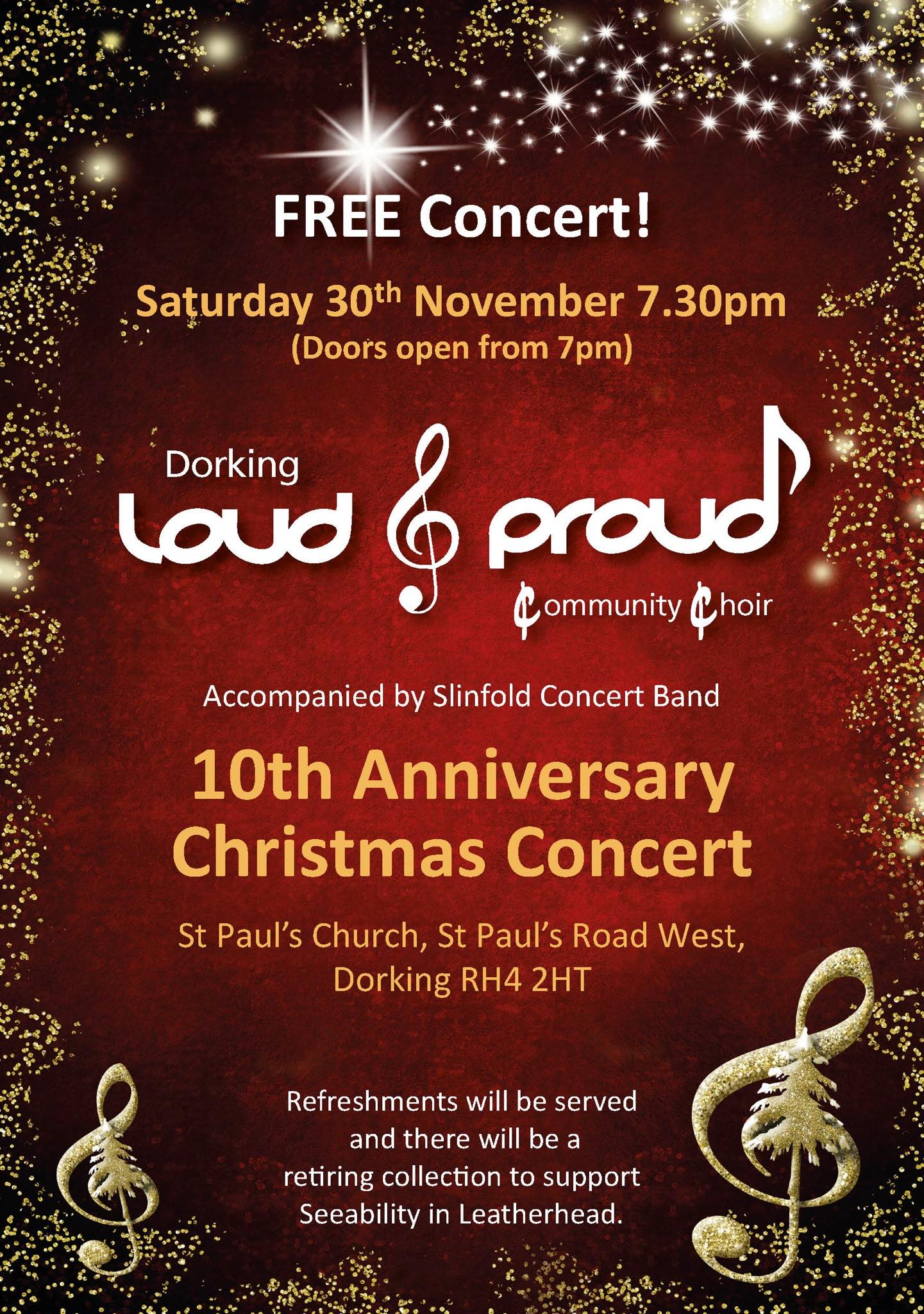 Poster for Dorking Loud & Proud 10th Anniversary Christmas Concert