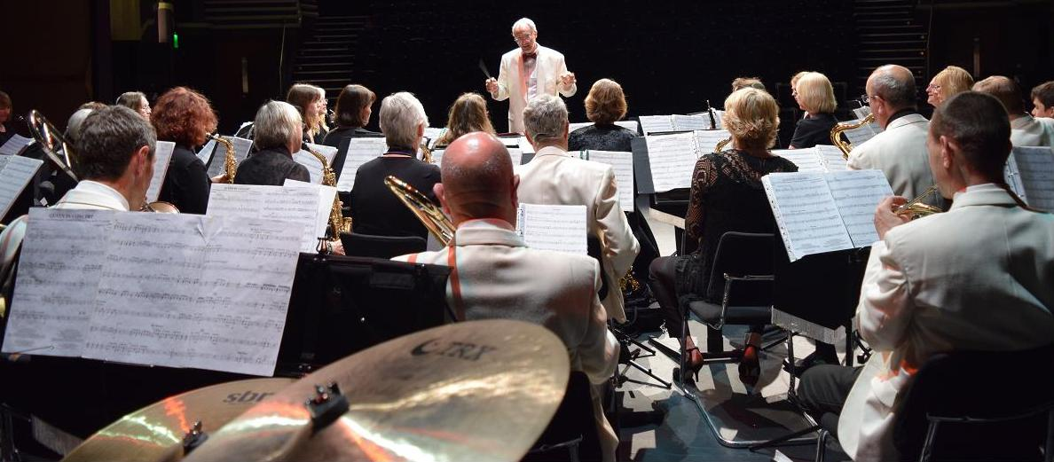 Slinfold Concert Band onstage at The Capitol, Horsham