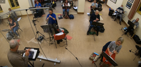 Photo of Slinfold Concert Band rehearsing in Covid-secure conditions